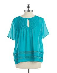 Michael Michael Kors Sheer Pleated Blouse Tile Blue
