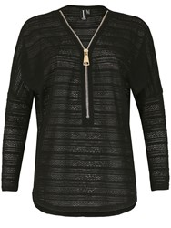 Izabel London Lace Knit Batwing Top With Oversized Zip Detail Black