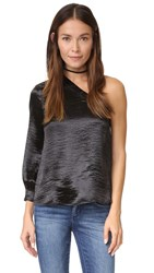 Re Named Shiny One Shoulder Top Black