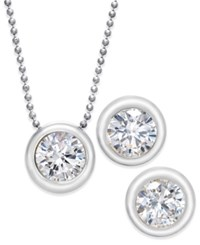Eliot Danori 2 Pc. Set Crystal Stud Earrings And Pendant Necklace Silver