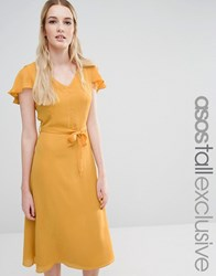 Fashion Union Tall Openback Skater Dress With Fluted Sleeve Mustard Yellow