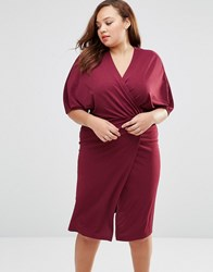 Club L Plus Wrap Front Dress With Kimono Sleeves Deep Purple