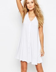 Asos Sleeveless Swing Dress With Button Front White