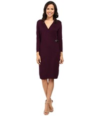 Calvin Klein Long Sleeve Mock Wrap Sweater Dress Cd6w1642 Aubergine Women's Dress Purple