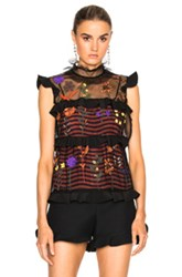 Fendi Embroidered Botanic Garden Top In Black Orange Floral Black Orange Floral