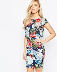 Jessica Wright Kylie Dress With Overlay Floral Top Navy Floral Multi