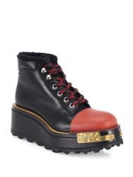Prada Lug Sole Leather And Shearling Wedge Booties Black Multi