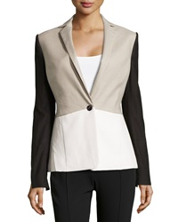 Halston Heritage Linen Blend Faux Leather Colorblock Jacket Flint White Black