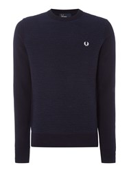 Fred Perry Men's Crew Neck Textured Rib Jumper Navy