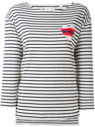 Chinti And Parker Striped Heart Sailor T Shirt Blue