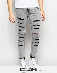 Waven Jeans Exclusive To Asos Extreme Super Skinny Fit Mid Rise Distressed Black Acid Extreme Rips Black