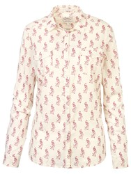 Fat Face Ivy Classic Fit Peacock Print Shirt Ivory