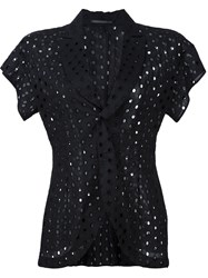 Yohji Yamamoto Perforated Short Sleeve Jacket Black