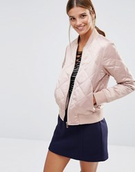 New Look Quilted Padded Bomber Nude Pink