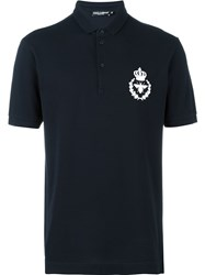 Dolce And Gabbana Embroidered Crown Bee Polo Shirt Blue