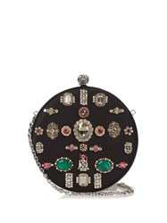 Alexander Mcqueen Crystal Embellished Satin Box Clutch Black Multi