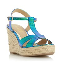 Head Over Heels Klover Metallic T Bar Wedge Sandals Blue