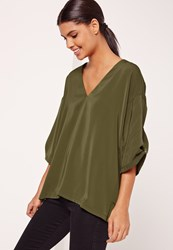 Missguided Oversized Short Sleeve Blouse Khaki