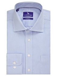 Chester Barrie By Twill Stripe Tailored Fit Shirt Blue White