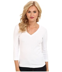 Three Dots 3 4 Sleeve Deep V Neck White Women's Long Sleeve Pullover