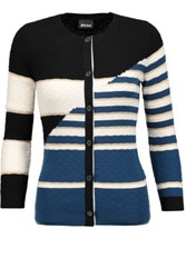 Just Cavalli Striped Textured Wool Blend Cardigan Multi