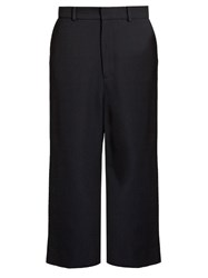 Raey Flat Front Cropped Twill Trousers Navy