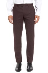 Ted Baker Men's London Classic Fit Flat Front Trousers Dark Red