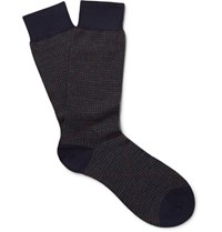 Pantherella Bedford Puppytooth Escorial Wool Blend Socks Navy
