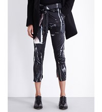 Ann Demeulemeester Abstract Print Tapered High Rise Stretch Silk Satin Trousers Black Melange