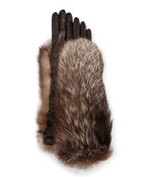 Gepa Gloves For Neiman Marcus Long Leather Fox Trim Black Silver Fox Black Silver Fox