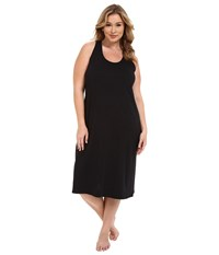 Jockey Plus Size 47 Cotton Racerback Gown Black Women's Pajama