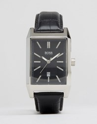 Hugo Boss Square Face Leather Watch In Black Brown