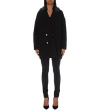The Kooples Faux Fur Detail Wool And Cashmere Blend Coat Black