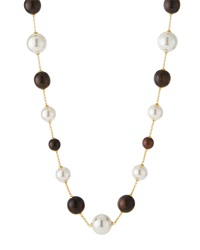 Majorica Wooden Bead And Organic Pearl Necklace