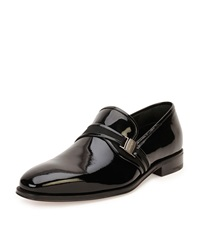 Salvatore Ferragamo Nygel Patent Leather Loafer With Side Vara Black