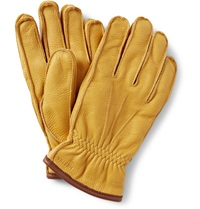 Hestra Fleece Lined Grained Leather Gloves Yellow