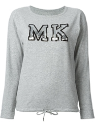 Michael Michael Kors 'Mk' Sequins Embroidered Sweatshirt Grey