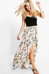 Boohoo Neon Floral Chiffon Wrap Maxi Skirt Ivory