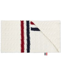 Thom Browne Tricolour Insert Donegal Scarf White