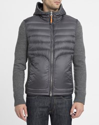 Parajumpers Grey Illuga Hooded Mix Knit And Down Jacket