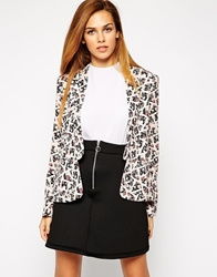 Girls On Film Blazer In Geo Floral Print Pink