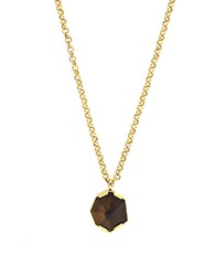 Vince Camuto Tigers Eye Geo Pendant Necklace Brown