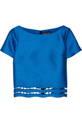 Noir Sachin And Babi Laser Cut Satin Twill Top Blue