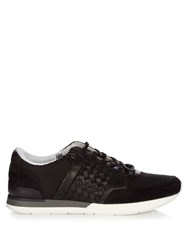 Bottega Veneta Intrecciato Leather And Suede Low Top Trainers Black