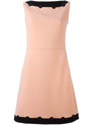 Boutique Moschino Contrast Trim Shift Dress Pink And Purple