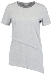Noisy May Nmnisa Print Tshirt Light Grey Melange Mottled Light Grey