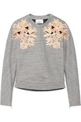 3.1 Phillip Lim Guipure Lace Paneled Cotton Blend Sweatshirt