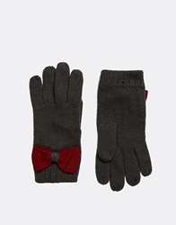 Asos Touch Screen Bow Gloves Darkgrey