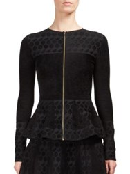 Roland Mouret Long Sleeve Peplum Top Black