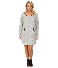 Dkny Plus Size Textured Hoodie Dress Polar Cream Women's Dress Bone